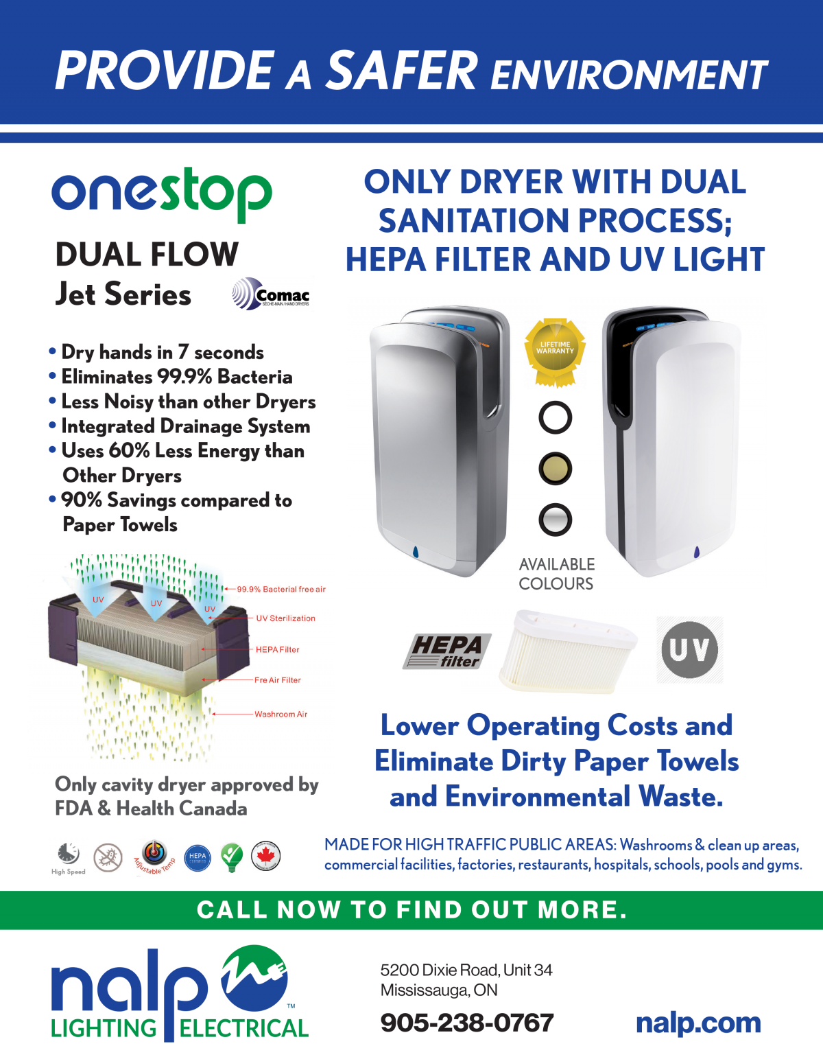 UV and Hepa hand dryer by Comac